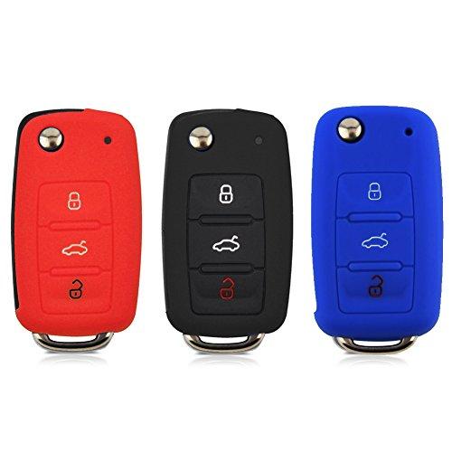 3pcs Fundas para llaves para Volkswagen, Rowell silicona mando a distancia de coche Auto clave carcasa protectora para Volkswagen VW serie en negro, azul y rojo