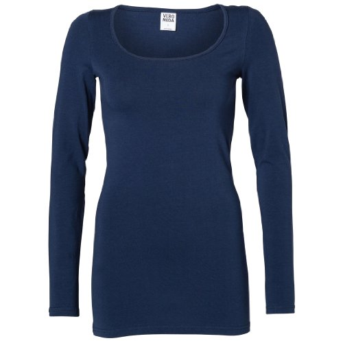 VERO MODA Maxi My langärmeliges Shirtin verschiedenen Farben und Größen Blau - Dark Navy
