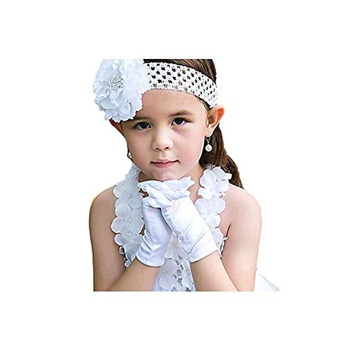 Winslet Mädchen Urlaub Hochzeit Pageant White Satin Handschuhe Prinzessin Handschuh (Weiß, L (19CM))