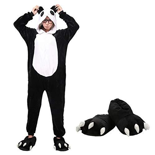 Mescara Pigiama Animali Cosplay Intero Unisex Costume Halloween Carnevale Festa Donna Uomo Animale Sleepwear (S per Alto 148-158 cm, Panda Nero e Pantofole)