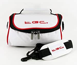 TGC ® Camera Case for Argus DC 3550 with shoulder strap and Carry Handle (Cool White & Crimson Red)