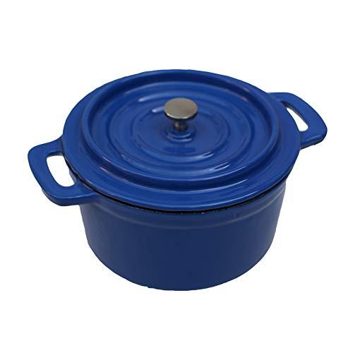 Unbekannt Gusseisen-Emaille-Auflauf Schwere Kochgeschirr, 14 cm Kochtopf, Geeignet für Herdarten Gas, elektrisch, Halogen, Keramik - Blau - Emaillierte Kochgeschirr Keramik