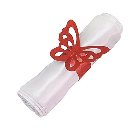 50pcs Papillon Anneaux Ronds de Serviettes Porte-serviettes pour Dîner de Mariage Fête Noël Nouvel An Soirée
