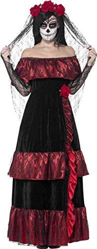 Tag der Toten Sugar Skull Braut Damenkostüm schwarz-rot (Braut Sugar Skull Kostüm)