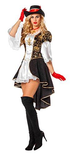 Musketiere Kostüm Damen Für - Karneval-Klamotten Musketier Kostüm Damen Musketier-Kleid Damen-Kostüm Mittelalter-Kostüm Größe 46