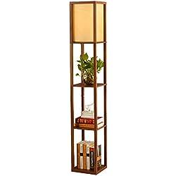 QIANGUANG® Lampadaire en bois de 1,6 m avec étagères pour chambre et salon (sans ampoule) (Brown)