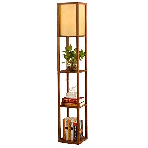 QIANGUANG®Innenbeleuchtung 1.6m Holz Stehleuchte mit Regalen für Schlafzimmer & Wohnzimmer (ohne Glühlampe) (braun)