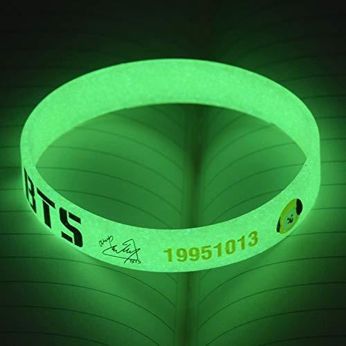 Yovvin BTS Fluoreszierend Armband, KPOP Bangtan Jungen Jungkook, Jimin, V, Suga, Jin, J-Hope, Rap Monster Glühen in der Dunkelheit Armkette Armreif für The Army( CHIMMY)