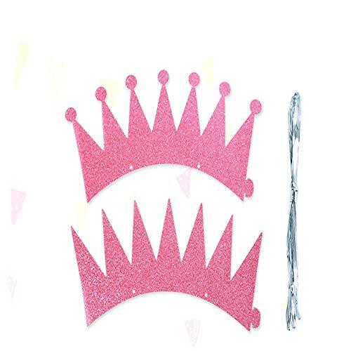 Aomili Geburtstag Dekoration Set Happy Birthday Girlande Partyhüte Schöne Kuchen Geburtstag Hüte, schöne Krone, für Kinder und Erwachsene, Spaß Geburtstag Party Hüte (6pcs) (Rosa)