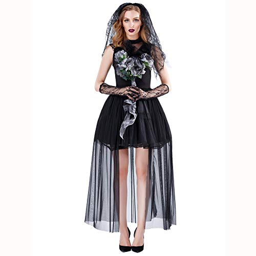 Womens Kostüm Zombie - HJG Womens Corpse Bride Kostüme Black Zombie Brautkleid Outfits, Mesh Robe,L