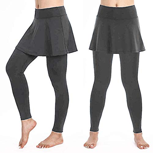 KIMODO® Damen Lässige Rock Leggings Cropped Culottes Hose Tennishose Sport Fitness Freizeithose Pants