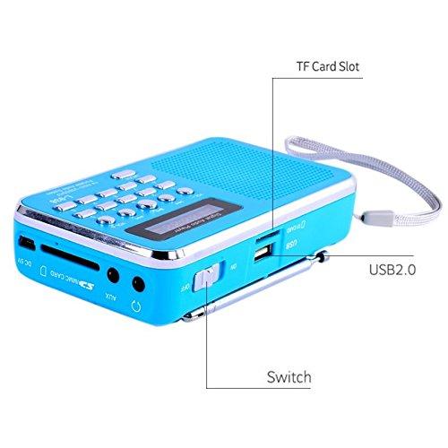 iMinker Mini-Digital-beweglicher FM Radio-Mittel-Lautsprecher MP3-Musik-Spieler TF / SD Karte Usb-Scheiben-Hafen für PC iPod-Telefon mit LED-Anzeige und Akku (Blau) - 4