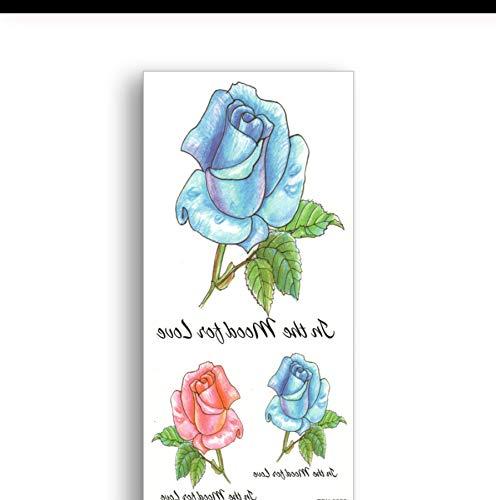 Lfvguiop autoadesivi impermeabili del tatuaggio dell'acquerello disegnano a mano lo stile rosso blu rose temporary falsi tatuaggi donne sexy body art ornamento ragazza pcs 3