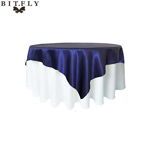 BITFLY 57inch (145cm x 145cm) Manteau en satin carré Nappe de table pour mariage Décorations de banquets de restaurant 21 Couleurs bleu marin