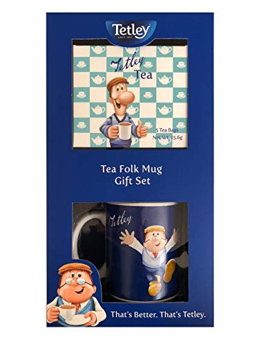 Tetley Tea Folk Ceramic Mug & 5 Tea Bags Christmas Gift Set