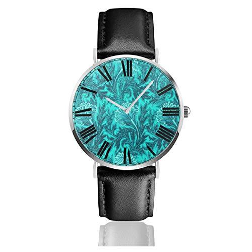 PecoStar Flower Damast Türkis Blaugrün Herren Damen Lederband Uhren Business Analog Quarz Wasserdicht Armbanduhr Casual Armbanduhr mit Lederband