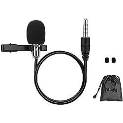 Mugig Micrófono Condensador de Solapa para Android IPhone IPad PC Canon Nikon Sony Réflex Digital Videocámaras Cámaras con Cable de Audio de 1,5mm con Pinza Color Negro Incluye Bolsillo