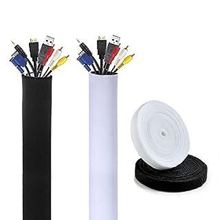 AGPTEK 2 X Kabelbinder Klett Breit 15mm Länge 4m + 1 X Neopren Klettverschluss Kabelschlauch Kabelkanal aus Neopren Material mit Klettverschluss Breit 13cm Länge 150cm, Schwarz und Weiß