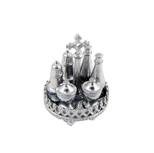 Melody Jane Puppenhaus 7 Teile Silber Set Metall Geschirr Esszimmer -