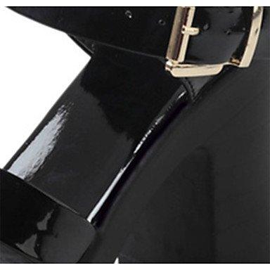 LvYuan Da donna Sandali Comoda PU (Poliuretano) Estate Casual Footing Comoda Fibbia Quadrato Bianco Nero 7,5 - 9,5 cm Black