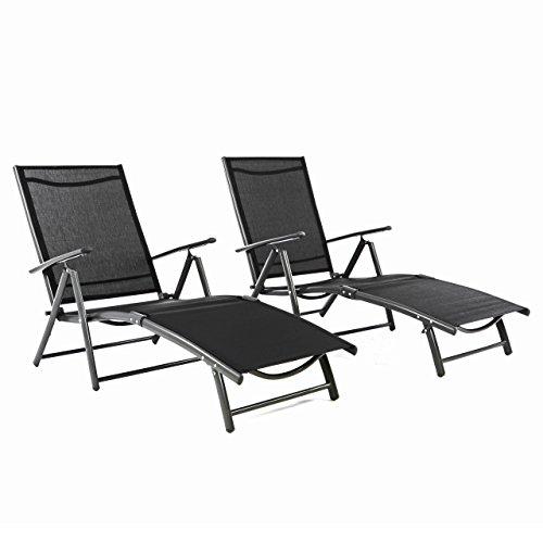 Nexos ZGC34467_SL02 2er Set Gartenliege Sonnenliege Liegestuhl Klappliege – für Terrasse Balkon – klappbare Liege aus Alu & Stahl & Textilene - schwarz anthrazit