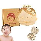 Hecha a mano hermosa bebé registro de crecimiento Niño niña Caja de almacenamiento de dientes deciduos Caja de almacenamiento de madera Caja dental para almacenar al bebé (Niña)