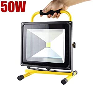 Nestling®10W/20W/30W/50W LED YELLOW RECHARGEABLE / PORTABLE FLOOD / WORK LIGHT IN COOL / DAY WHITE ** EASY TO USE FLOODLIGHT - IDEAL FOR CAMPING, WORKSHOPS, BOATS, ETC ** by Shenzhen nestling Technology Co. Ltd.