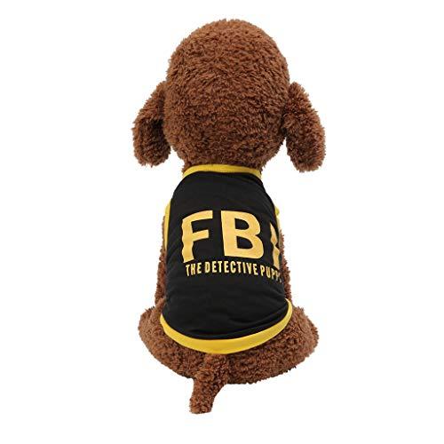 Hawkimin Pullover mops New Pet Frühling und Sommer Breathable Fashion FBI Print Weste Hund Katze Kleidung -