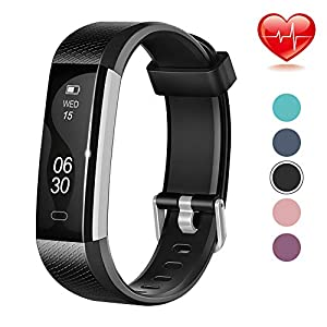 Lintelek Fitness Tracker, Slim Activity Tracker with Heart Rate Monitor, IP67 Waterproof Smart Band with Step Counter, Calorie Counter, Bluetooth Pedometer for Android & iOS Smartphone for Kids Women