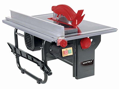Matrix 210100080 Tischkreissäge, 800 Watt, 3000 U/min, 200mm Sägeblatt, 43mm Schnitttiefe, Tischgöße 500x335mm, mit Parallel, Quer-Anschlag, Staubabsaugung