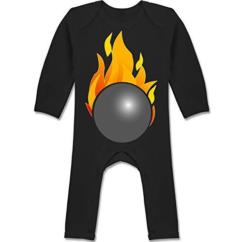 Sport Baby - Kegeln Kugel Flammen bunt - 3-6 Monate - Schwarz - BZ13 - Langarm Baby-Strampler / Schlafanzug für Jungen und Mädchen (Baumwolle Bowling Sweatshirt)