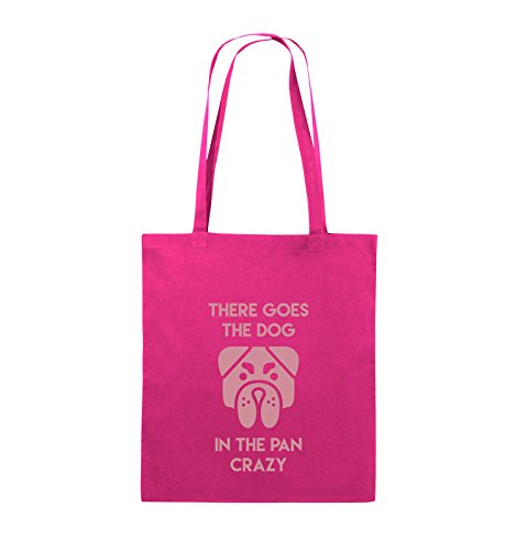 Comedy Bags - THERE GOES THE DOG IN THE PAN CRAZY - Jutebeutel - lange Henkel - 38x42cm - Farbe: Schwarz / Silber Pink / Rosa