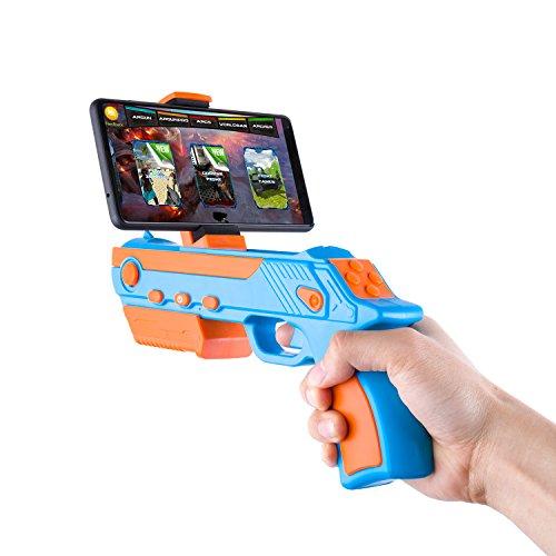 AR Pistola con APPs Ulinek Game Gun con Controlador Bluetooth Armas de juguete de realidad aumentada con más de 30 videojuegos Juguete portátil y ecológico para iOS Smartphones con Android Aplicación gratuita Regalo para niños -Corto