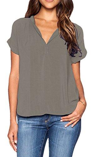 LILBETTER Damen Langarmshirt Blusen V-Ausschnitt mit T-Shirt Bluse Top(grau XL)
