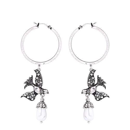 QYMX Ohrring Frauen, Imitation Perle Strass Vogel Big Hoop Ohrringe Antik Silber Farbe Legierung Vintage Statement Ohrringe Modeschmuck -