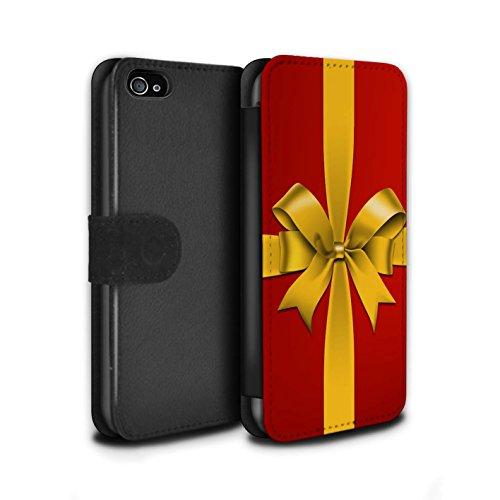 Stuff4 Coque/Etui/Housse Cuir PU Case/Cover pour Apple iPhone 4/4S / Boules/Or Design / Décoration Noël Collection Cadeau/Present