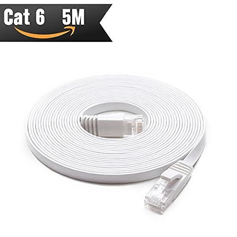 CAT 6 Câble Ethernet 5 m Blanc (au Prix d'un Cat5e mais Plus Bande passante) Cat6 Plat câble réseau Internet Haut débit pour réseau LAN Gigabit pour routeur/modem/panneau de brassage