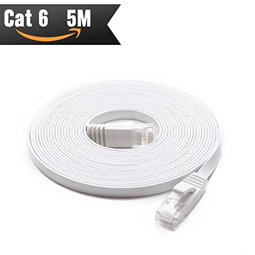 Cat 6 Ethernet Kabel 5 m weiß (bei CAT5e Preis, sondern höhere Bandbreite) CAT6 Flach Internet Netzwerk Kabel für High Speed Gigabit LAN für Router/Modem/Patch Panel Brand Name: CableMonsta (Patch-kabel 1ft Cat6)