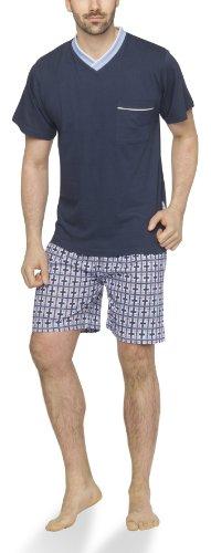 Moonline - Herren Shorty Schlafanzug kurz Pyjama mit karierter Hose- Gr. 50/52 (L), navy/hell blau/bordeaux