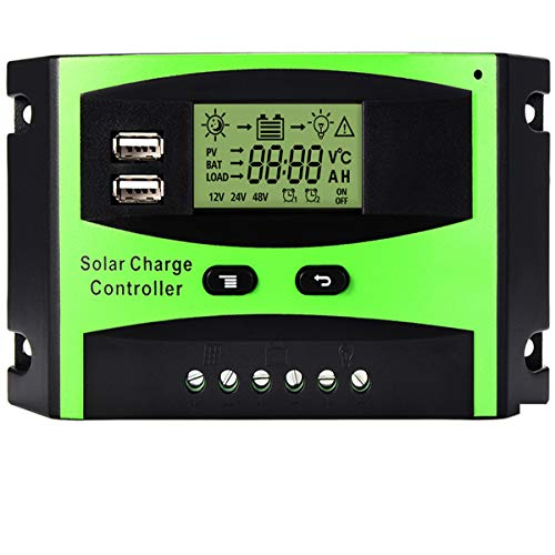 Regler Drücken (MOHOO Solarladeregler Solarregler 30 A 12 V / 24 V LCD Solarladegerät Ladesteuergerät Stromanzeige LCD-Solarpanel mit Dual-USB-Batterie Regler Auto-Einstellung Schalter Überlastschutz)
