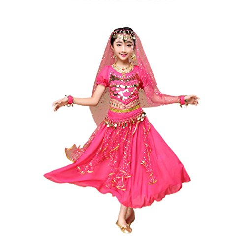 Igemy Kindermädchen Bauchtanz Outfit Kostüm Indien Tanz Kleidung Top + Rock (M, Pink) (Kostüme Von Indien Für Kinder)