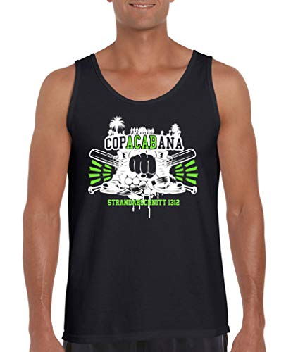 Frau Schläger-tank-shirt (Comedy Shirts - Copacabana Strandabschnitt 1312 Schlaeger - Herren Tank-Top - Schwarz/Weiss-Neongrün Gr. L)