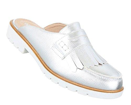Damen Sandalen Schuhe Strandschuhe Sommerschuhe Pantoletten Slipper Silber