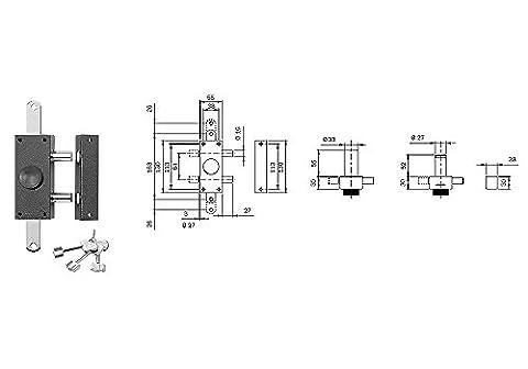 Iseo 910335Serrure appliquer réversible châssis de fenêtre bois verni Bronze fermeture triple Cylindre Pompe externe 50mm goupilles 16mm 27mm bouton intérieur puisage 3clés