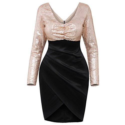 PU&PU Femmes Occasionnels / Sorties / Party V Neck manches longues sequins Asymmetrical Sheath Dress Black