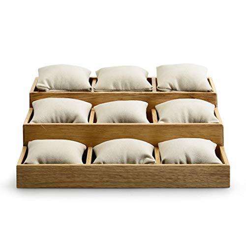 9 Watch Tray/Display Stand, beige Superfiber Schmuck Schaufenster Box, massivem Holz Aufbewahrungskoffer Organizer - 27 X 23.5 X 8.5/3 cm -