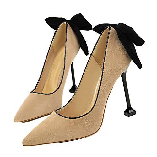 Damen-Pumps mit Spitzen Zehen und Pumps mit hohen Absätzen Bow Wedding Bowtie Back Dress Sandals Plaid Bowties