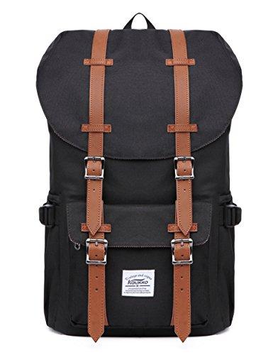 Outdoor Laptop-Rucksack, Schwarz, Schulter Buch Taschen Rücken passt 38,1 cm Laptop & Tablets von Kaukko (Rücken-reißverschluss-tasche)