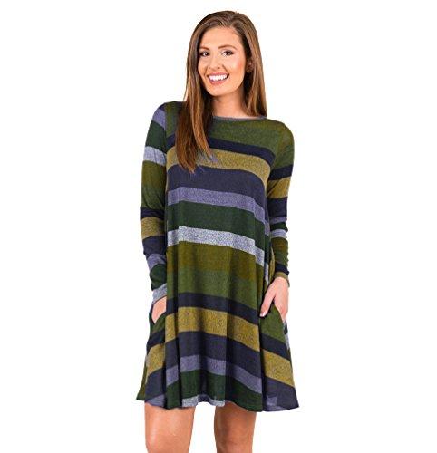 YiLianDa Donna Manica Lunga Camicetta Maglietta T-shirt Blusa Sexy Pullover Maglie Vestiti Verde