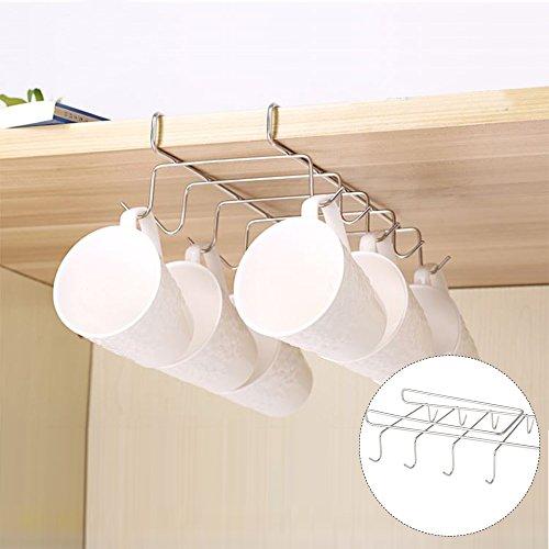 Soporte para tazas de cocina, armario, armario de cocina, armario, 10 ganchos, acero inoxidable, color plateado y cromado